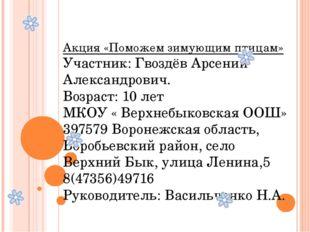 Акция «Поможем зимующим птицам» Участник: Гвоздёв Арсений Александрович. Воз