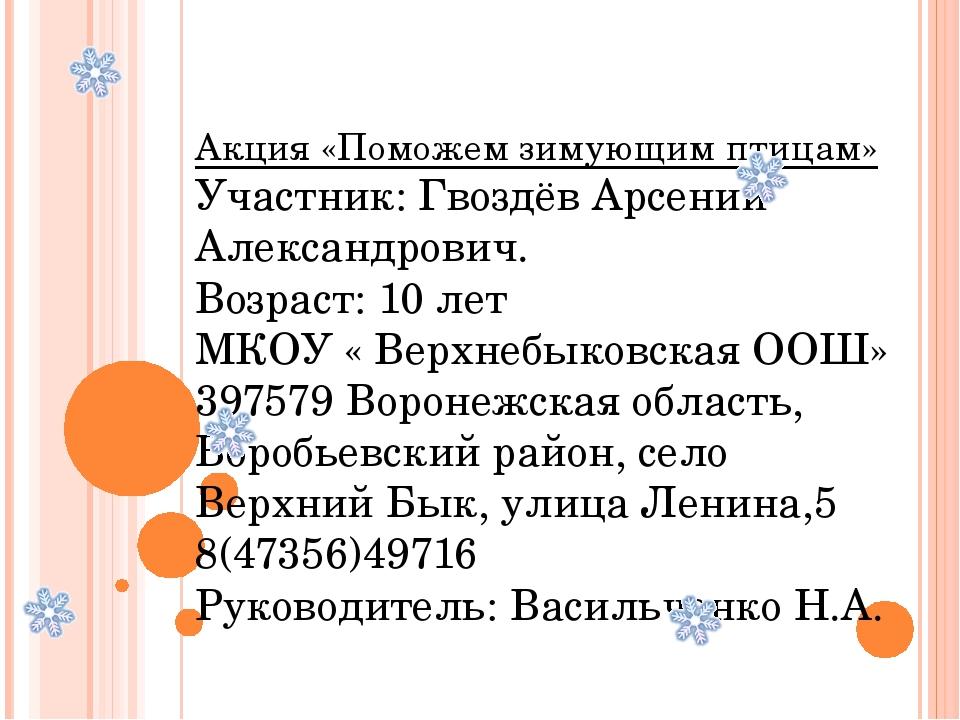 Акция «Поможем зимующим птицам» Участник: Гвоздёв Арсений Александрович. Воз...