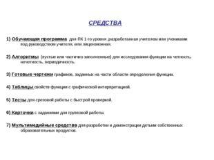 СРЕДСТВА 1) Обучающая программа для ПК 1-го уровня ,разработанная учителем ил