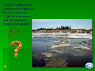 Ледоход Солнце пригревает, Лед на речке треснул. Речка зашумела, Льдины подго