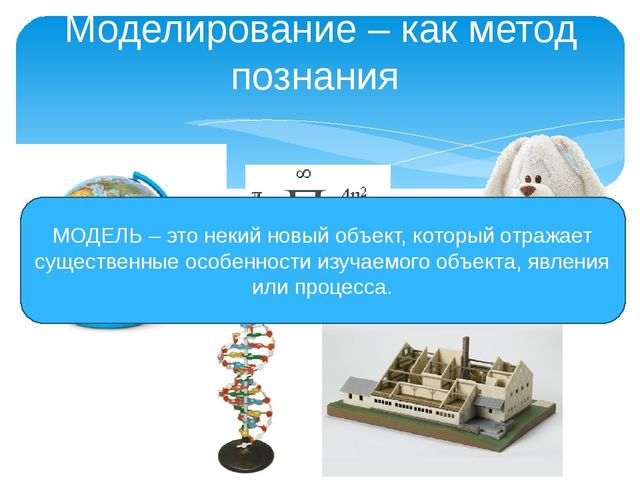 Моделирование – как метод познания МОДЕЛЬ – это некий новый объект, который о...