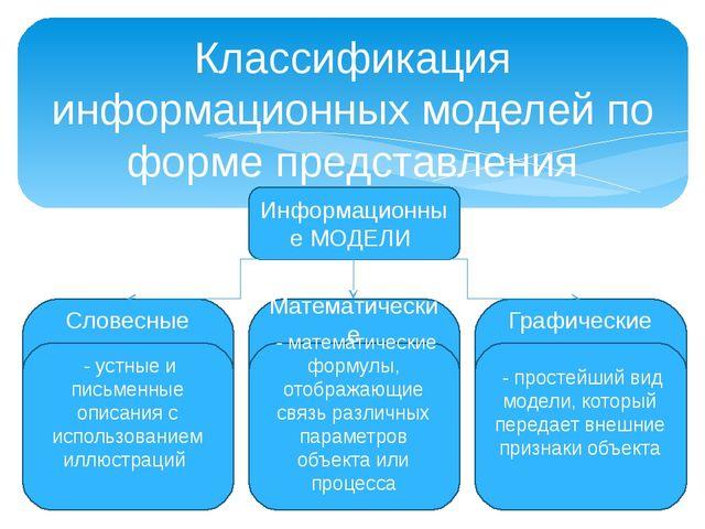 Классификация информационных моделей по форме представления Информационные МО...