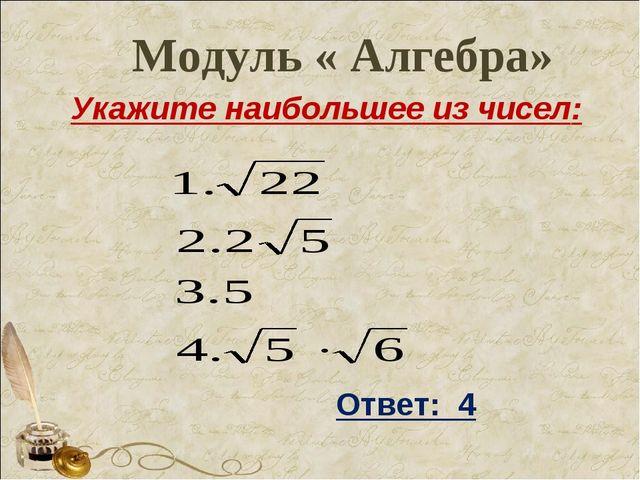 Модуль « Алгебра» Укажите наибольшее из чисел: Ответ: 4