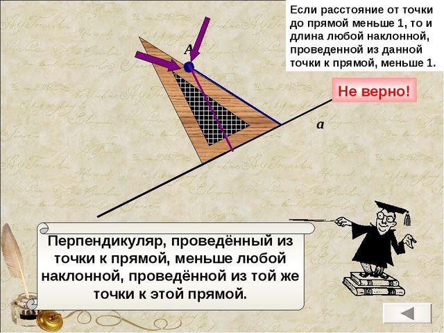 Перпендикуляр, проведённый из точки к прямой, меньше любой наклонной, проведё...