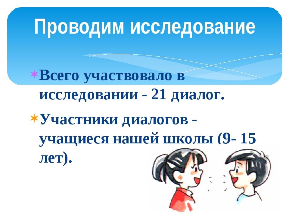 Всего участвовало в исследовании - 21 диалог. Участники диалогов - учащиеся н...