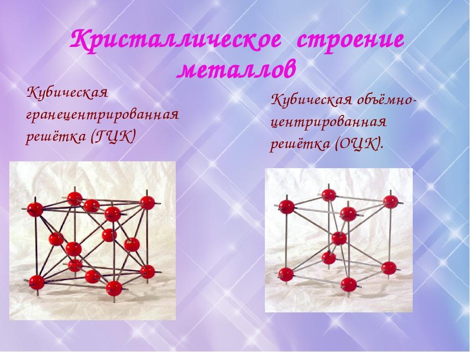 Кристаллическое строение металлов Кубическая гранецентрированная решётка (ГЦК...