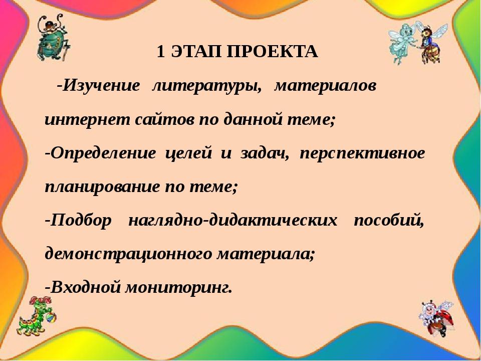1 ЭТАП ПРОЕКТА -Изучение литературы, материалов интернет сайтов по данной те...