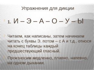 Упражнения для дикции 1. И – Э – А – О – У – Ы  Читаем, как написаны, затем