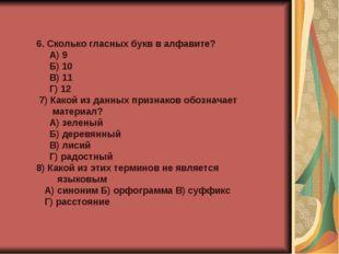 6. Сколько гласных букв в алфавите? А) 9 Б) 10 В) 11 Г) 12 7) Какой из данны