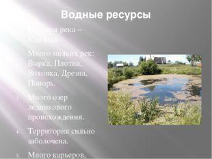 Водные ресурсы Крупная река – Клязьма. Много мелких рек: Вырка, Плотня, Вохон