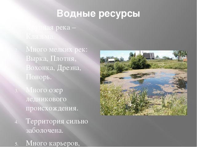Водные ресурсы Крупная река – Клязьма. Много мелких рек: Вырка, Плотня, Вохон...