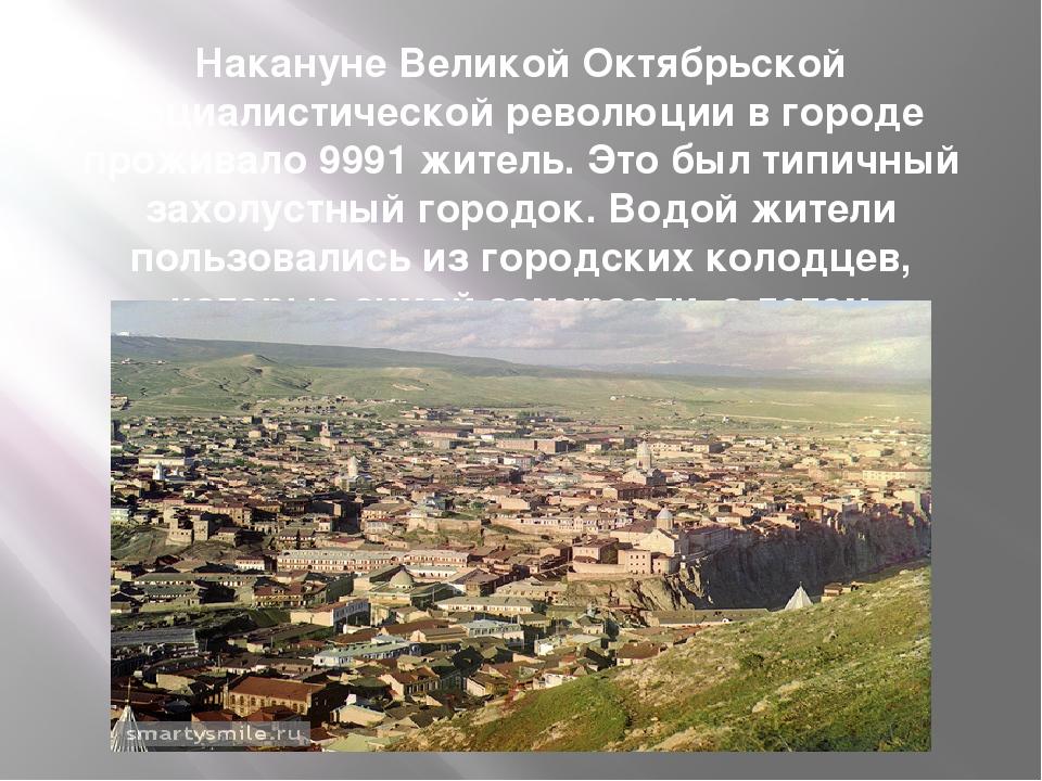 Накануне Великой Октябрьской социалистической революции в городе проживало 99...