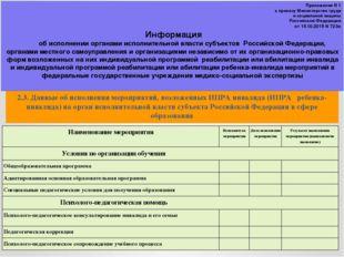 2.3. Данные об исполнении мероприятий, возложенных ИПРА инвалида (ИПРА ребенк