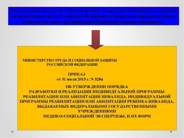 """Федеральный закон от 01.12.2014 N 419-ФЗ """"О внесении изменений в отдельные за..."""