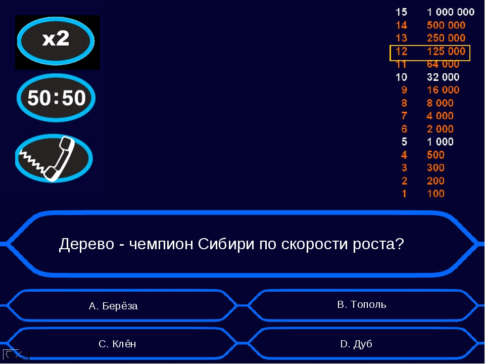 Дерево - чемпион Сибири по скорости роста? А. Берёза D. Дуб B. Тополь C. Клён