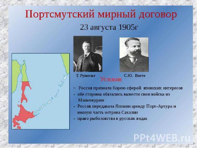 Окончание войны 23 августа (5 сентября) 1905 в г. Портсмут (США) был подписан...