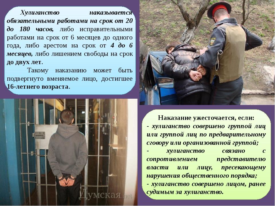 Хулиганство наказывается обязательными работами на срок от 20 до 180 часов,...