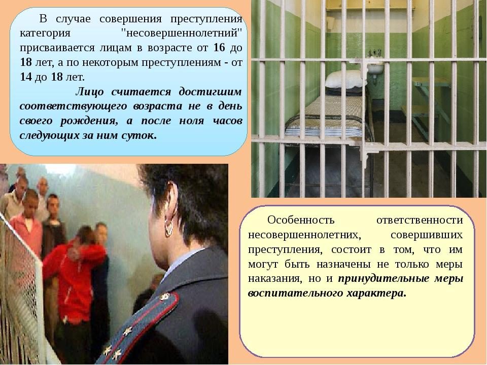 """В случае совершения преступления категория """"несовершеннолетний"""" присваиваетс..."""