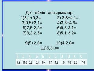 Деңгейлік тапсырмалар: 1)8,1+9,3= 2) 3,8+4,1= 3)9,5+2,1= 4)3,8+4,6= 5)7,5-2,3