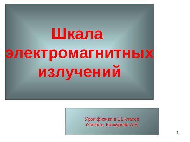 * Шкала электромагнитных излучений Урок физики в 11 классе Учитель Кочкурова...