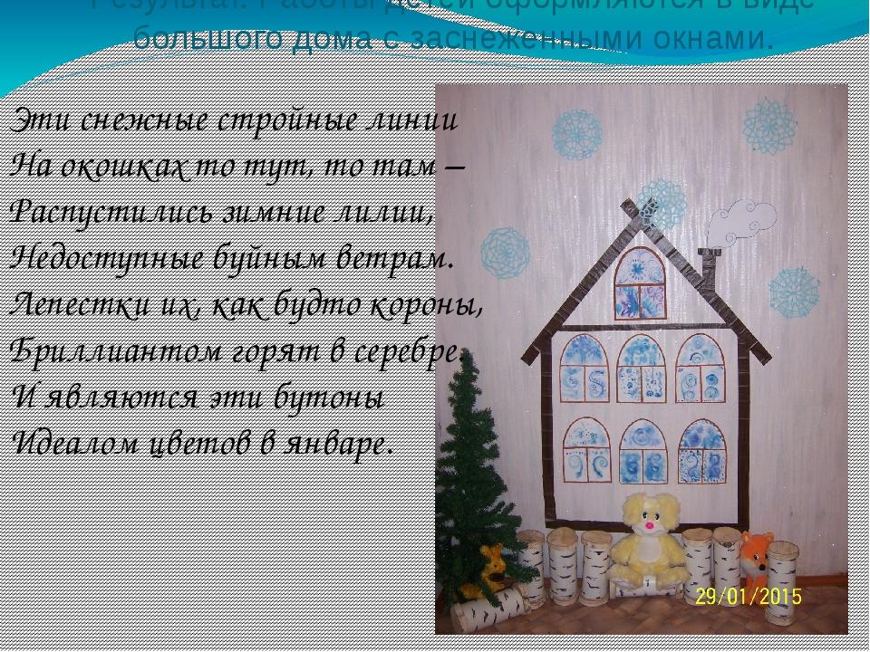 Результат. Работы детей оформляются в виде большого дома с заснеженными окнам...
