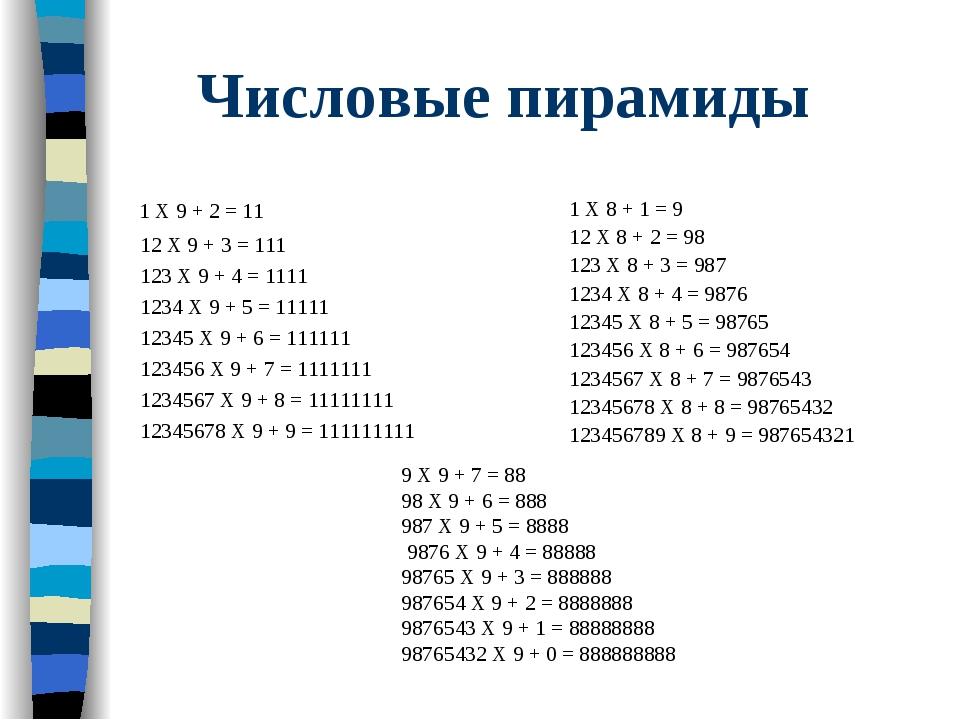 Числовые пирамиды 1 X 9 + 2 = 11 12 X 9 + 3 = 111 123 X 9 + 4 = 1111 1234 X...