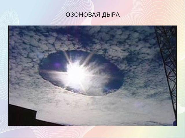 ОЗОНОВАЯ ДЫРА Локальное падение концентрации озона в озоновом слое Земли. Ч...