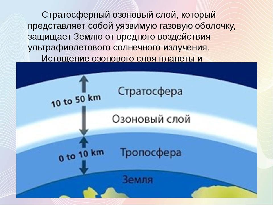 Стратосферный озоновый слой, который представляет собой уязвимую газовую обо...