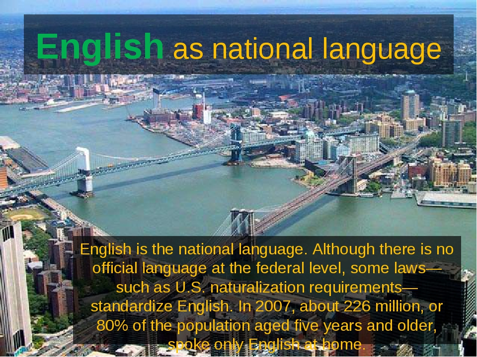 English as national language English is the national language. Although there...