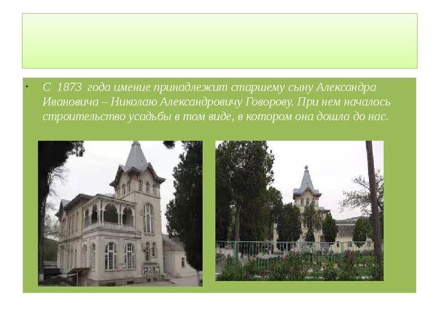 С 1873 года имение принадлежит старшему сыну Александра Ивановича – Николаю...