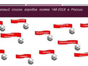 Итоговый список городов хозяев ЧМ-2018 в России Москва Санкт-Петербург Калин