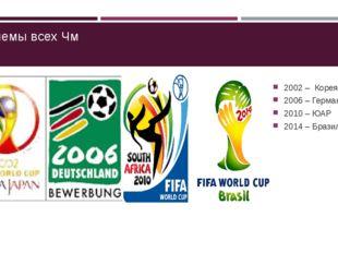 Эмблемы всех Чм 2002 – Корея/Япония 2006 – Германия 2010 – ЮАР 2014 – Бразилия