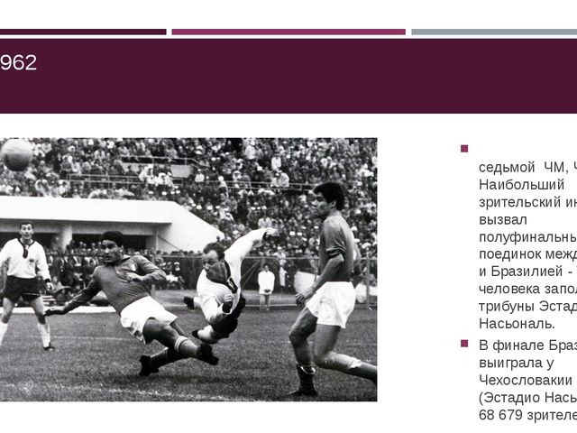 ЧМ-1962 седьмой ЧМ, Чили. Наибольший зрительский интерес вызвал полуфинальны...