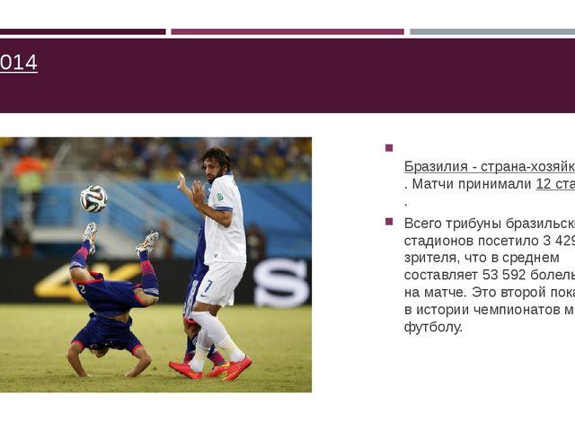 ЧМ-2014  Бразилия - страна-хозяйка ЧМ по футболу 2014 года. Матчи принимали...