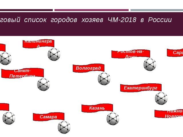 Итоговый список городов хозяев ЧМ-2018 в России Москва Санкт-Петербург Калин...