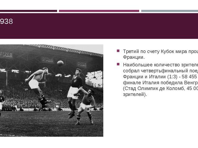 ЧМ-1938 Третий по счету Кубок мира прошел во Франции. Наибольшее количество...