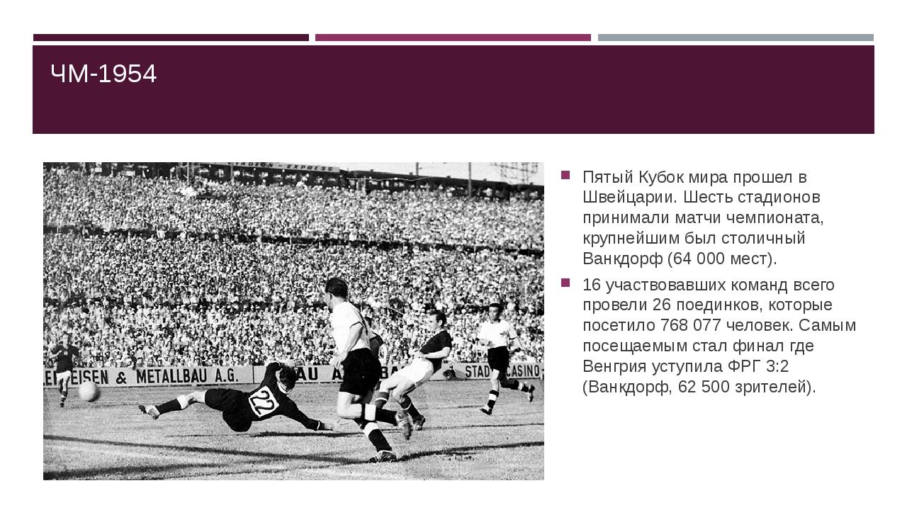 ЧМ-1954 Пятый Кубок мира прошел в Швейцарии. Шесть стадионов принимали матчи...