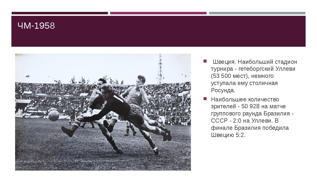 ЧМ-1958 Швеция. Наибольший стадион турнира - гетеборгский Уллеви (53 500 мест...