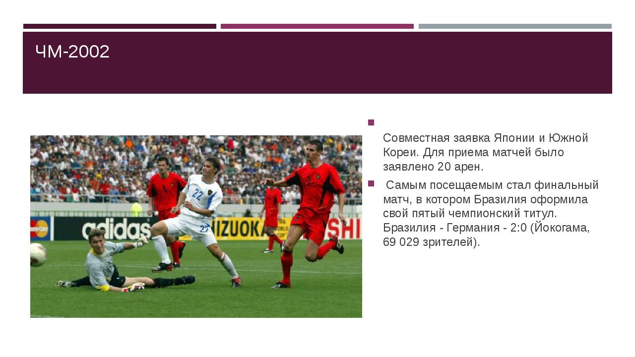 ЧМ-2002 Совместная заявка Японии и Южной Кореи. Для приема матчей было заявл...