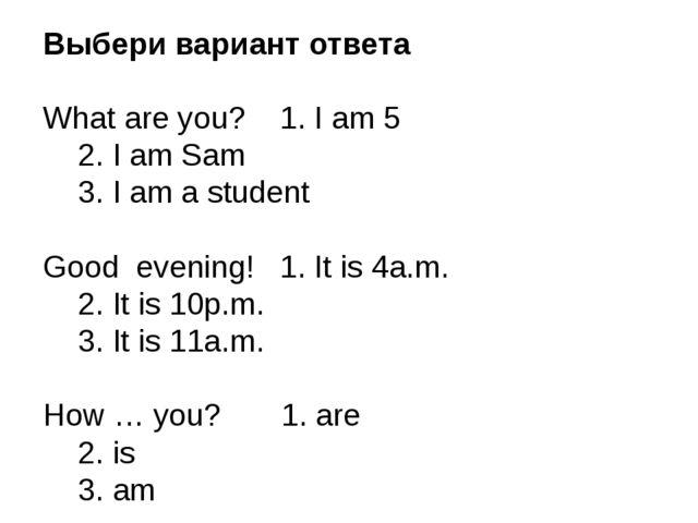 Выбери вариант ответа What are you? 1. I am 5 2. I am Sam 3. I am a student...