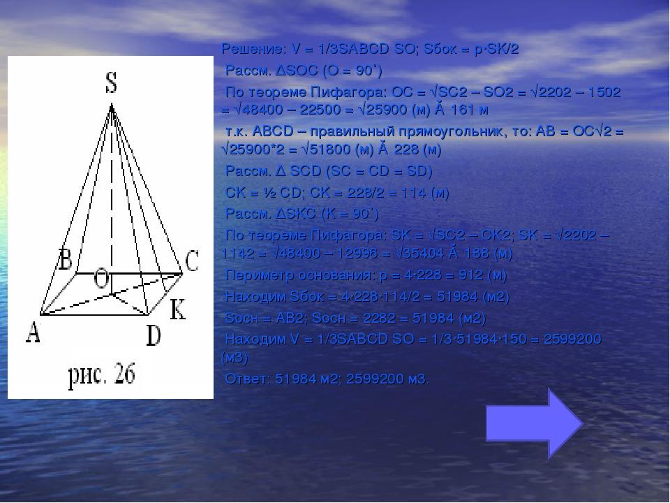 Решение: V = 1/3SABCD SO; Sбок = p∙SK/2 Рассм. ∆SOC (O = 90˚) По теореме Пифа...