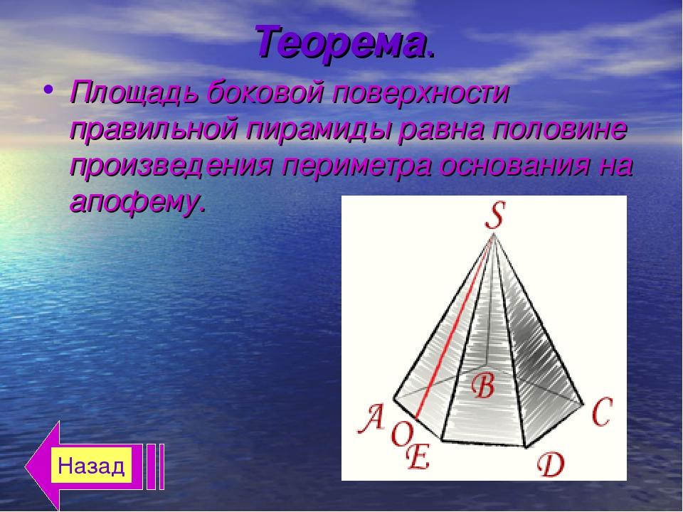 Теорема. Площадь боковой поверхности правильной пирамиды равна половине произ...