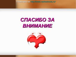 СПАСИБО ЗА ВНИМАНИЕ Размещено на http://www.nashashcola.ru/