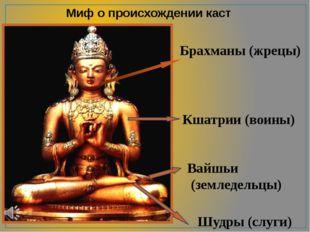 Миф о происхождении каст Брахманы (жрецы) Кшатрии (воины) Вайшьи (земледельцы