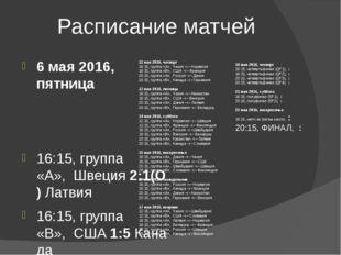 Расписание матчей 6 мая 2016, пятница 16:15, группа «A»,Швеция2:1(О)Латви