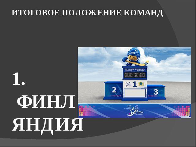 ИТОГОВОЕ ПОЛОЖЕНИЕ КОМАНД   1. ФИНЛЯНДИЯ 2. КАНАДА 3.  РОССИЯ 4.  США 5...