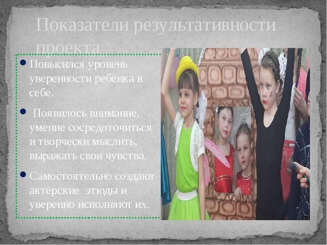 Показатели результативности проекта Повысился уровень уверенности ребёнка в с...