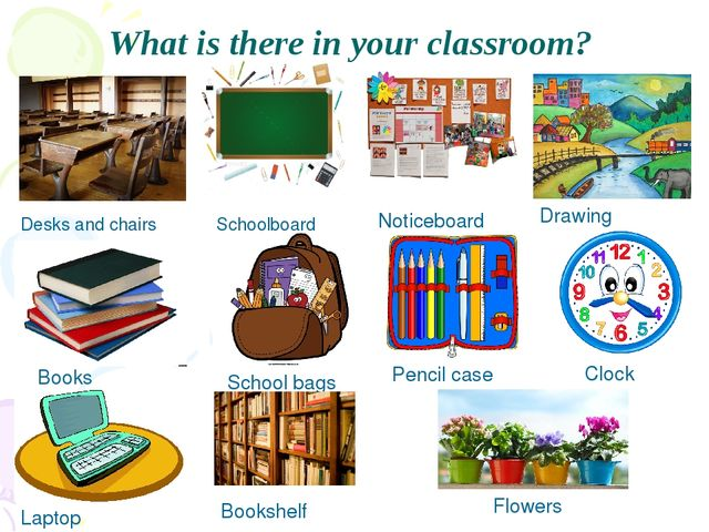 What is there in your classroom? Desks and chairs Schoolboard Noticeboard Dra...