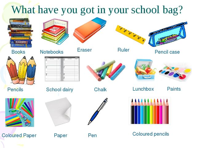What have you got in your school bag? Books Notebooks Eraser Ruler Pencil cas...
