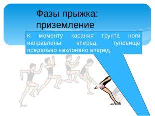 К моменту касания грунта ноги направлены вперед, туловище предельно наклонено